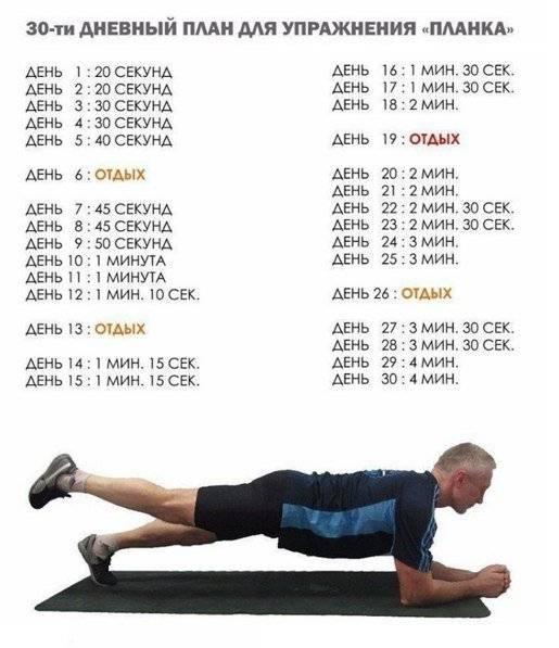 Планка: программа упражнений на 30 дней, для новичков, делать каждый день