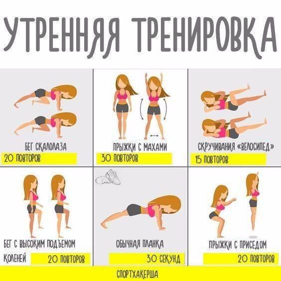 Утренняя и вечерняя зарядка для похудения в домашних условиях и на работе: упражнения для живота, ягодиц и ног