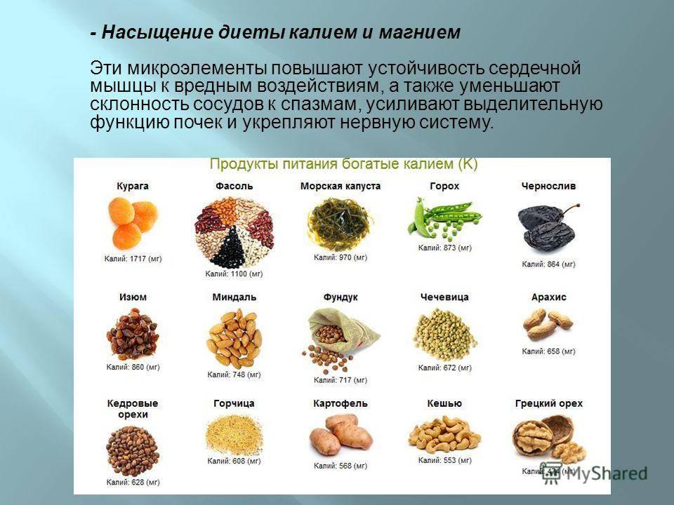 Калий и магний в каких продуктах содержится больше всего список продуктов в таблице