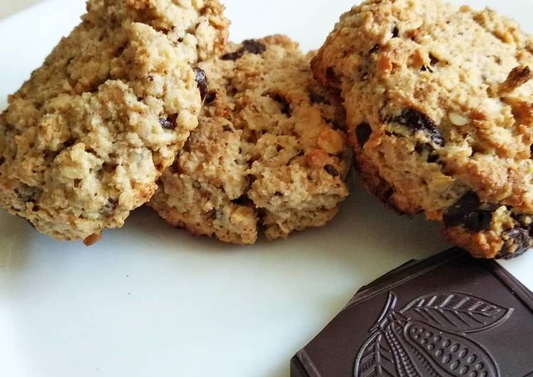 Печенье из овсяных хлопьев - рецепт «очень вкусное диетическое» на кефире с медом и изюмом