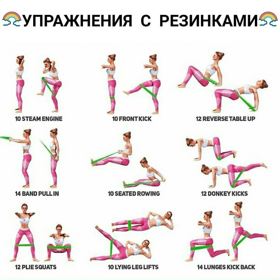 Простой но эффективный комплекс упражнений с резинкой на все тело