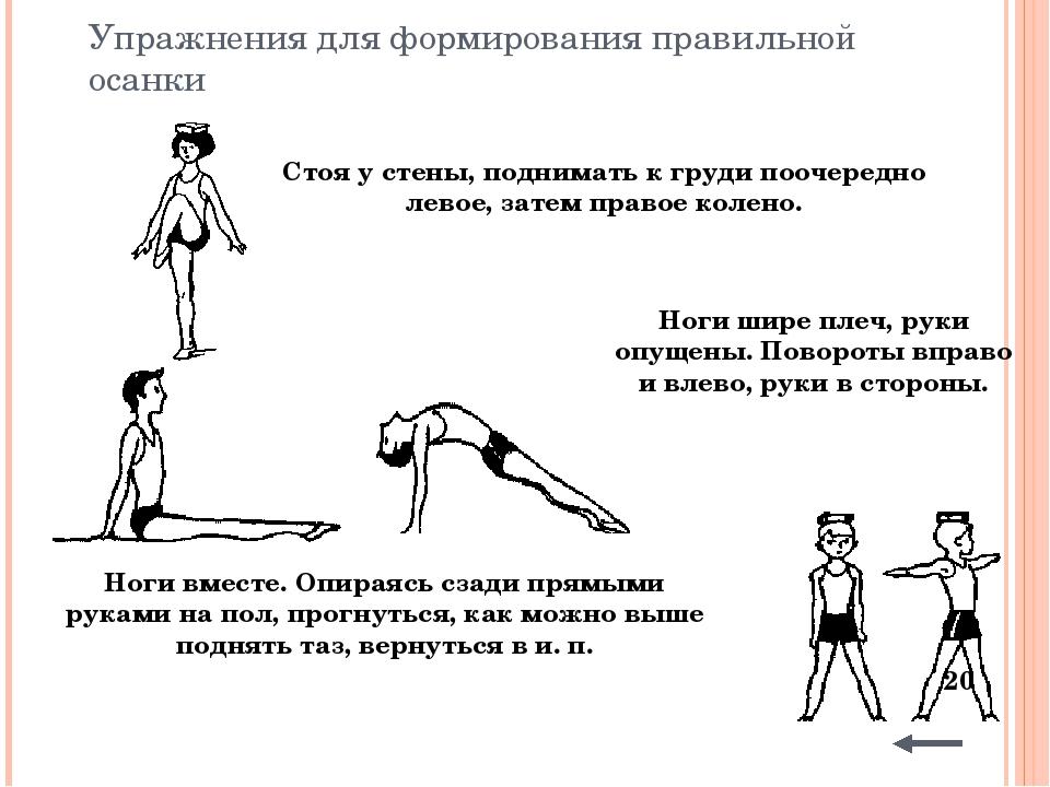 Физические упражнения и игры для формирования правильной осанки