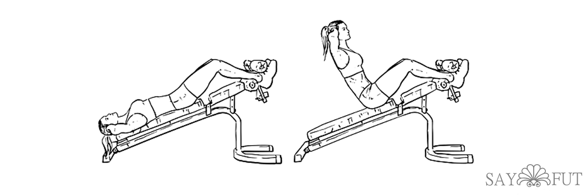 Подъём ног на наклонной скамье