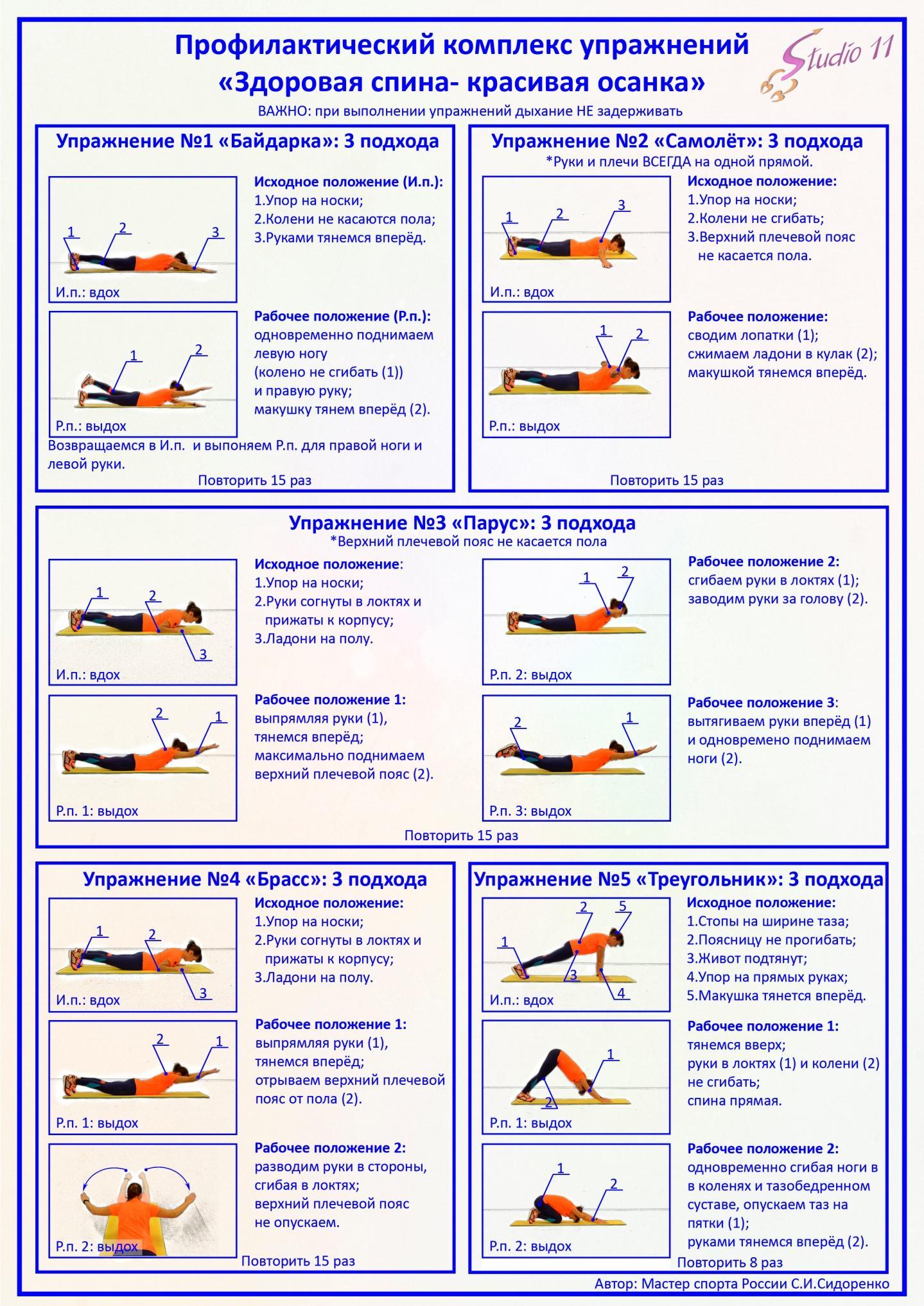 Упражнения для укрепления мышц спины и поясницы в домашних условиях