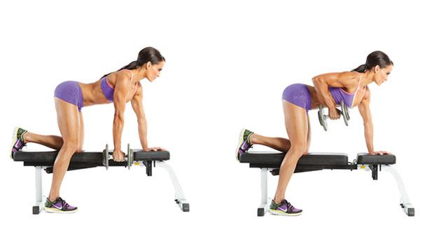 Правильная техника выполнения тяги гантели в наклоне одной рукой, какие мышцы работают?