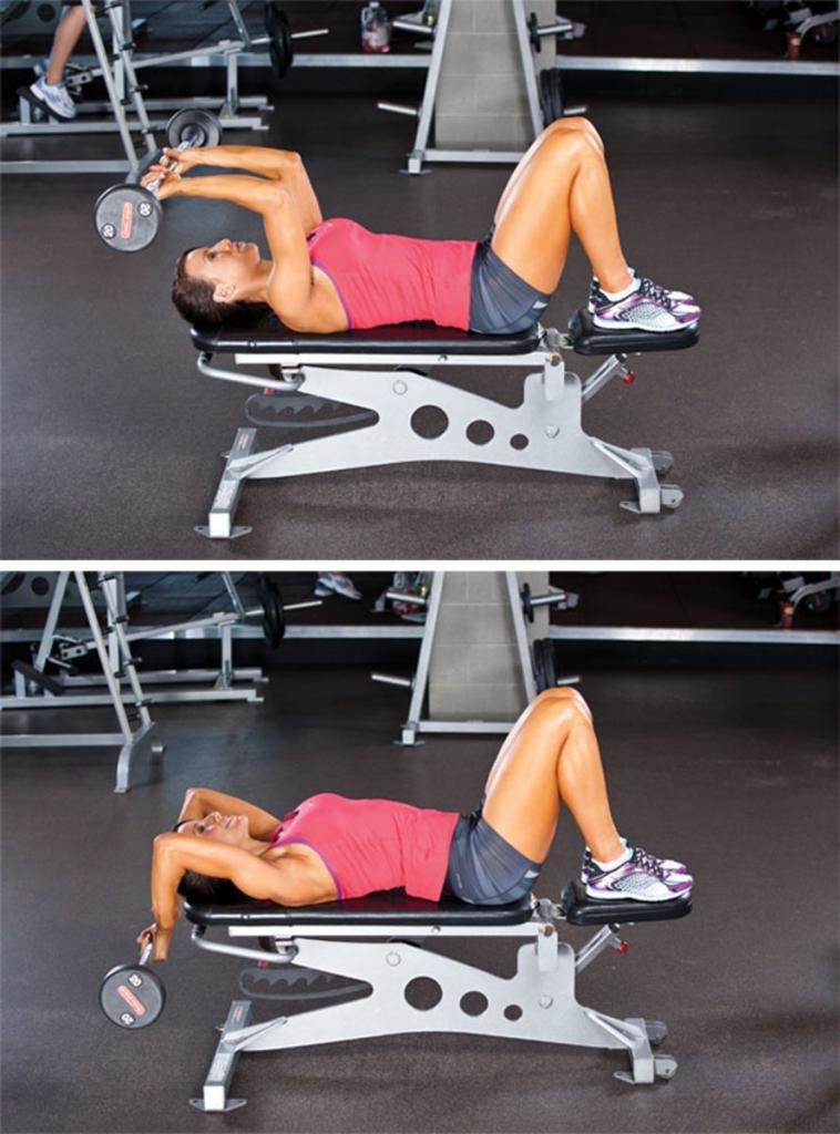 Пуловер со штангой и с гантелей. эффективное упражнение для развития грудных и широчайших мышц спины
