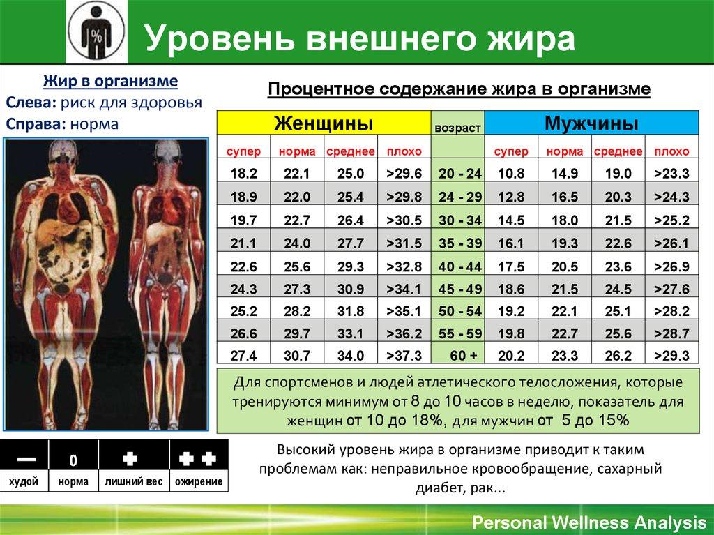 Калькулятор для расчета процента жира в организме