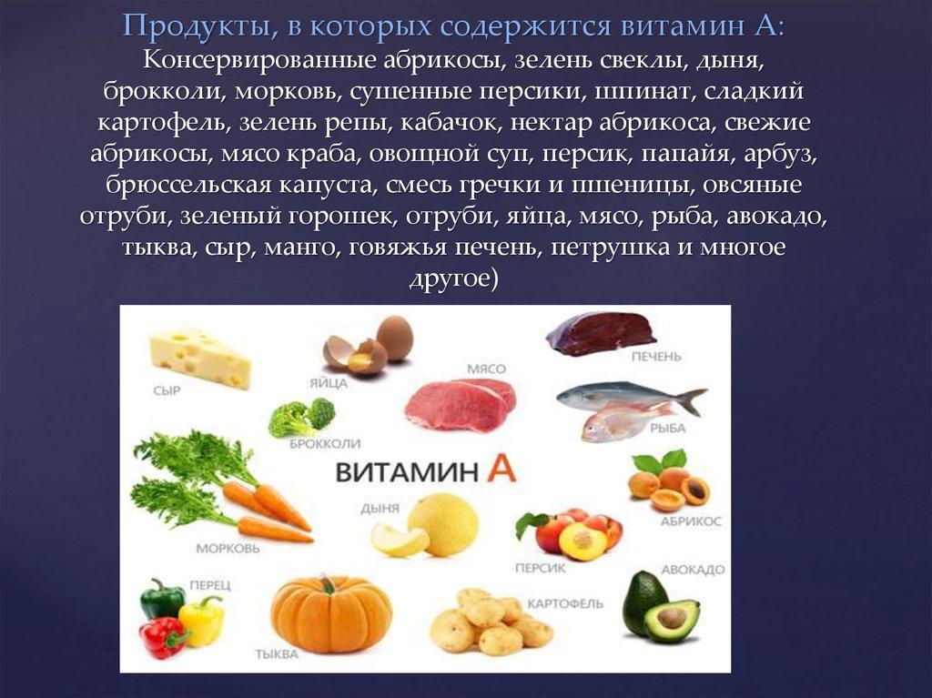 Где содержится витамин а: таблица
