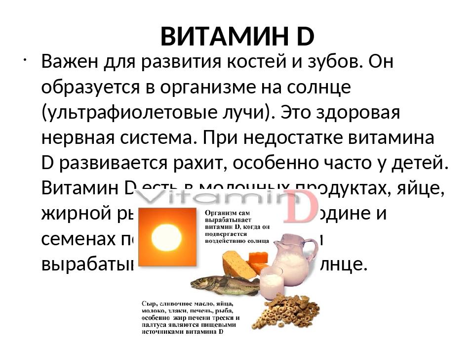 Витамин д, в каких продуктах содержится, за что отвечает витамин d