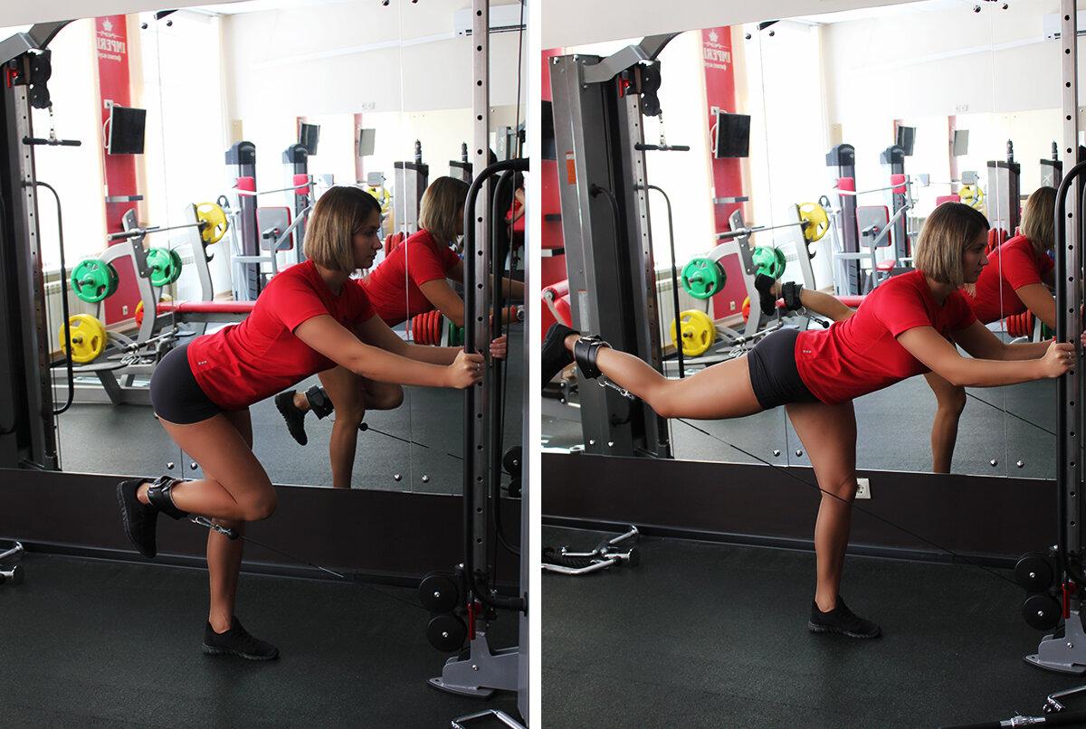 Отведение ноги в кроссовере - проработка ягодичных мышц