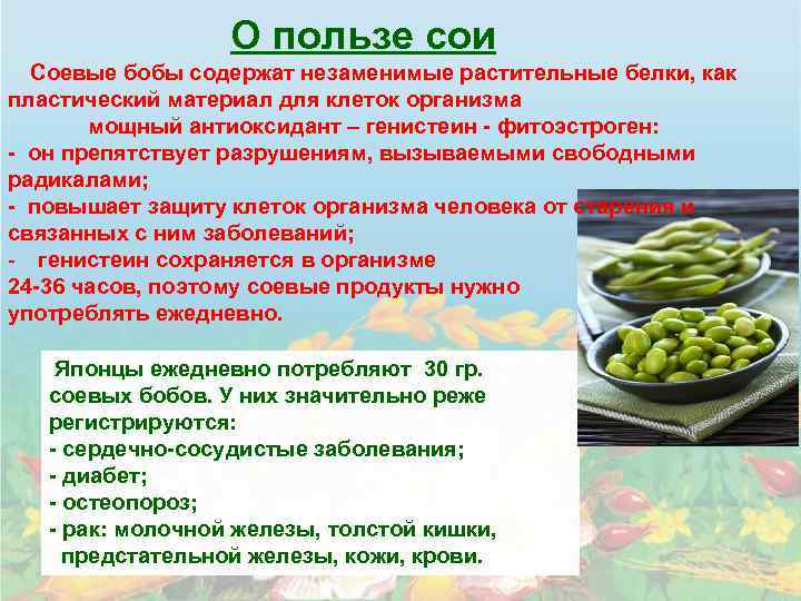 Соя и соевые продукты: польза и возможный вред | польза и вред