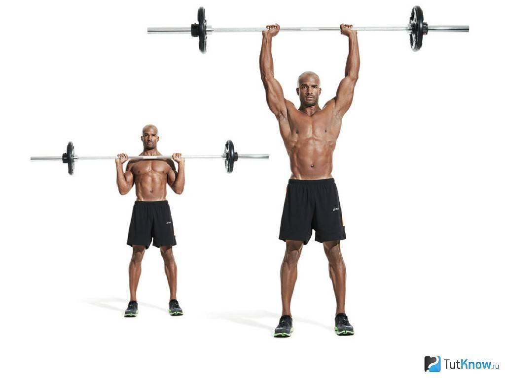 Жим штанги стоя: лучшее упражнение для прокачки плеч