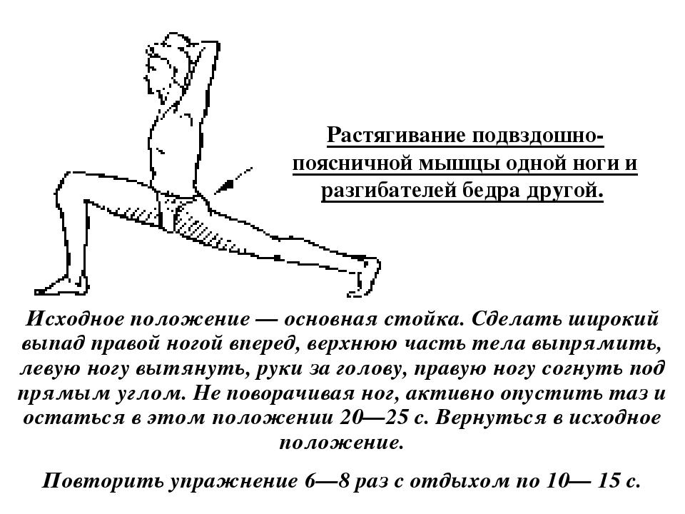 Подвздошно-поясничная мышца: упражнения на растяжку
