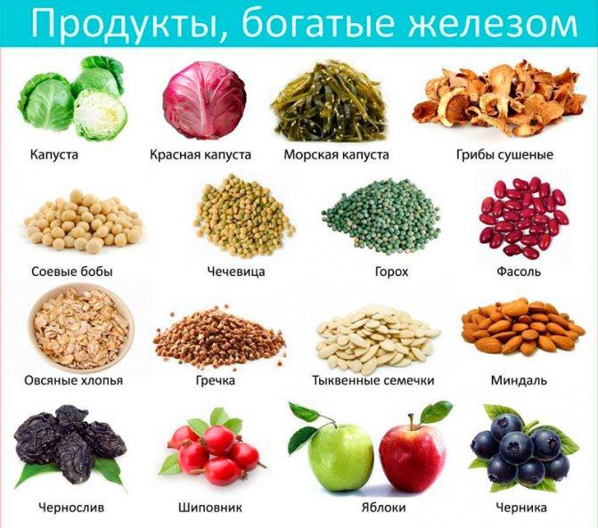 Обзор продуктов, повышающих гемоглобин, способствующих ферросорбции или ингибирующих всасывание железа