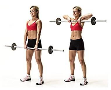 Тяга штанги к подбородку: какие мышцы работают, техника протяжки со штангой стоя узким и широким хватом