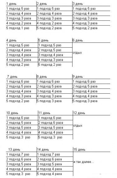 Подтягивание на турнике программа тренировок. схема подтягиваний в таблице