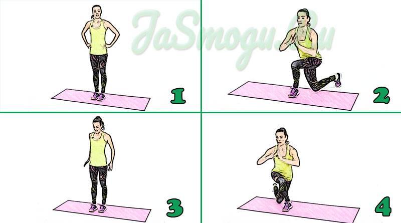 Перекрестные (диагональные) выпады: описание и польза + план тренировок ног