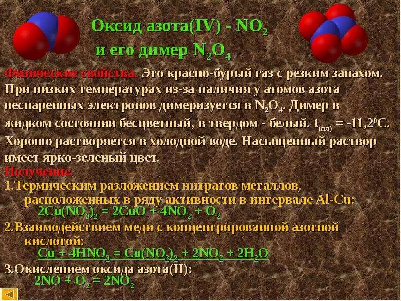 Оксид азота (iv) (диоксид азота), свойства, получение, химические реакции