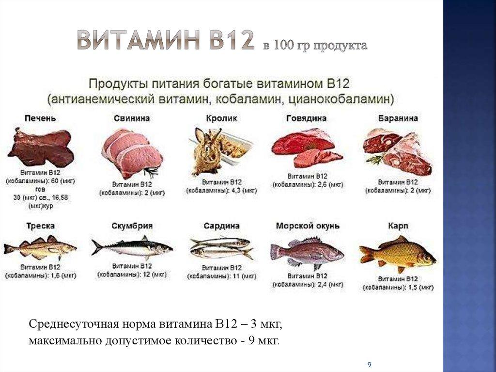 В каких продуктах содержится больше всего витамина в12 (таблица) | promusculus.ru