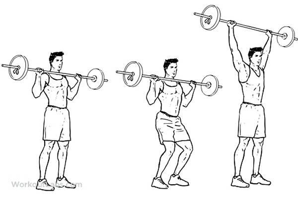 Жим штанги стоя с груди: фото и видео упражнения