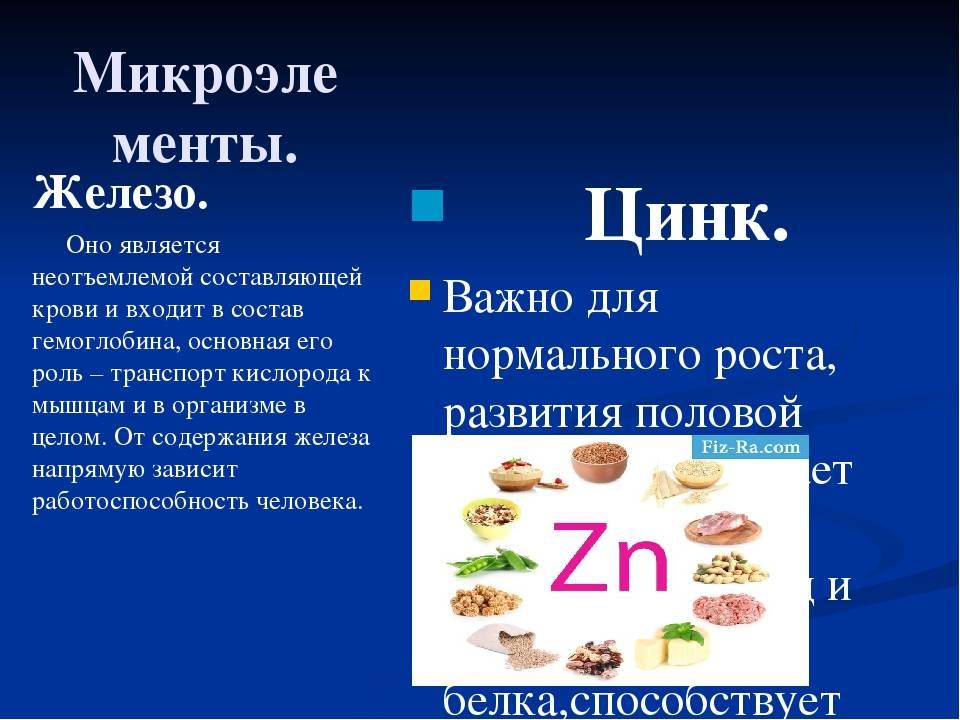 Цинк: польза для организма, для женщин и мужчин.