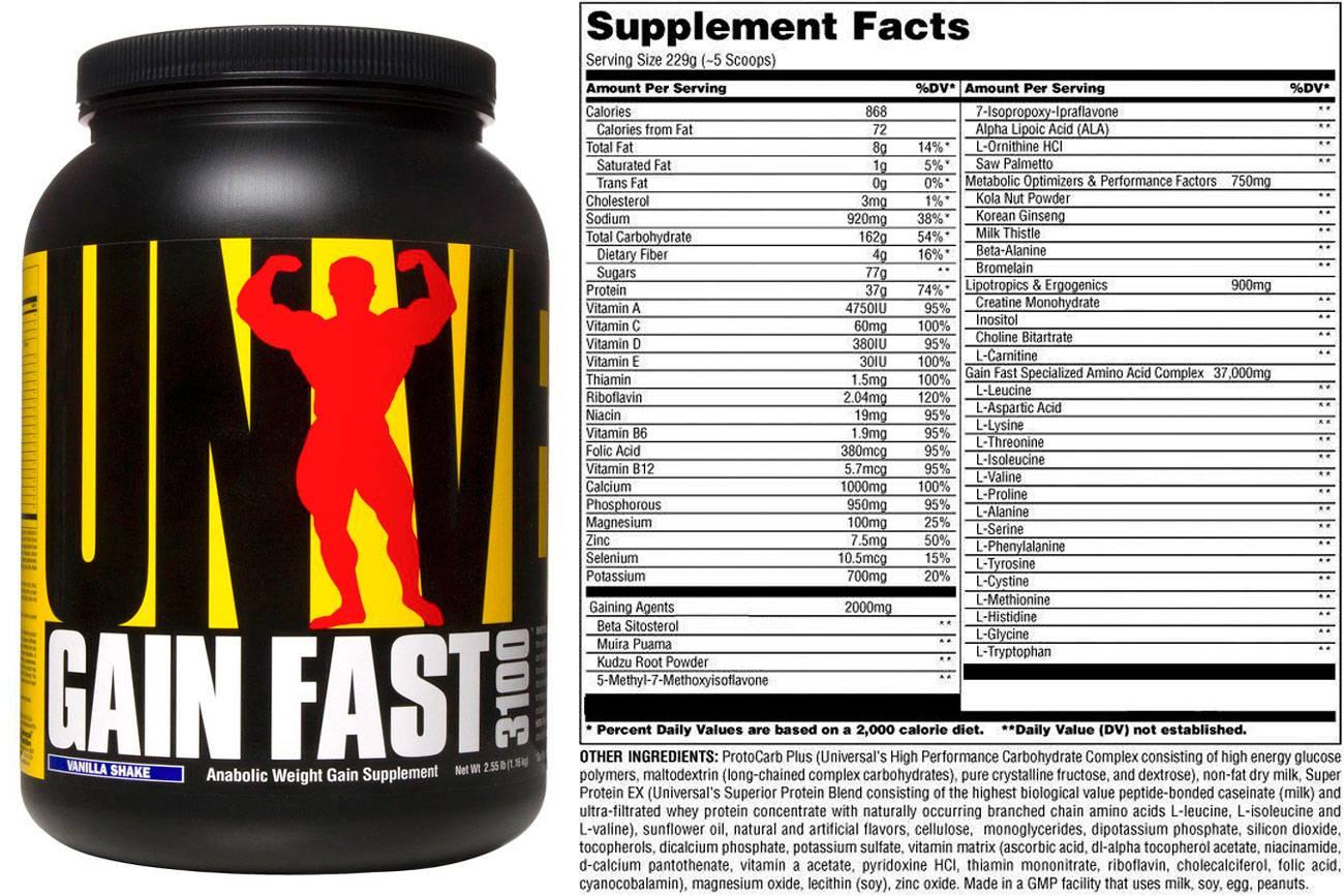 Un gain fast 3100 2.55lb universal nutrition - гейнеры