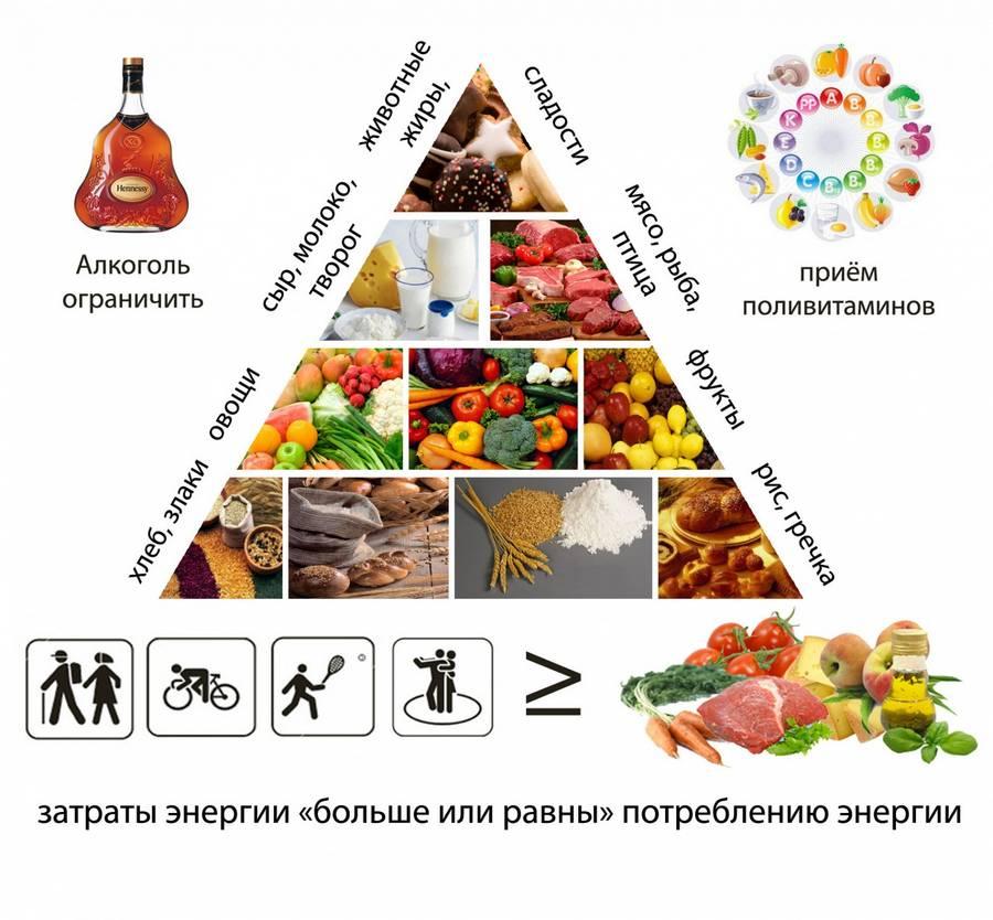 Таблица правильного питания: список продуктов