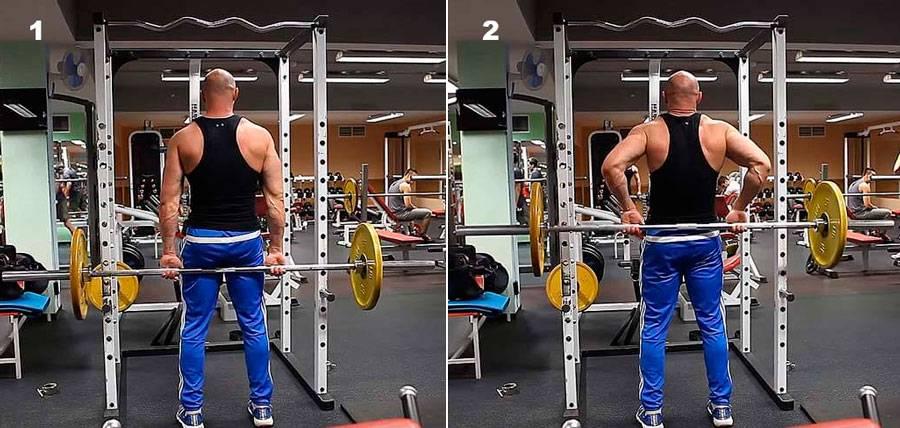 Тяга ли хейни: техника стоя со штангой за спиной, гантелями и в смите для задних дельт