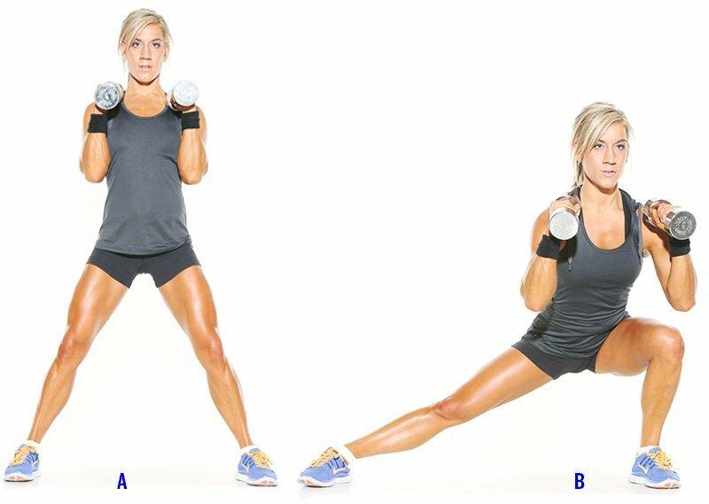 Выпады с гантелями: какие мышцы работают, динамичные упражнения, как правильно шагать с гантелями или гирей