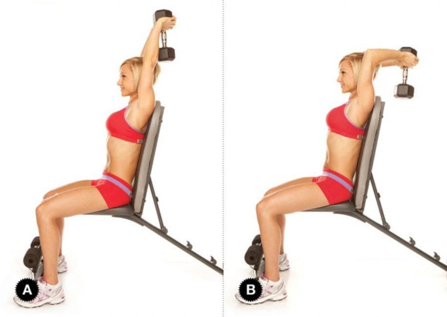 Упражнения с гантелями для трицепс для женщин в домашних условиях