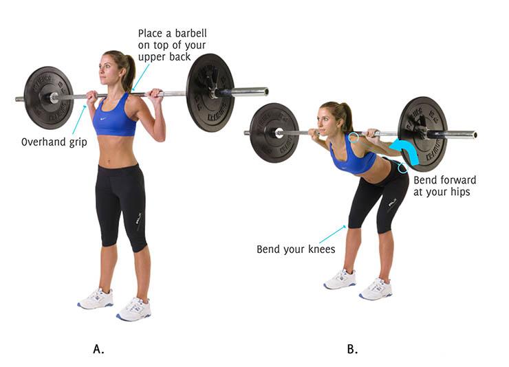 Наклоны со штангой для девушек - всё о спортивных тренировках