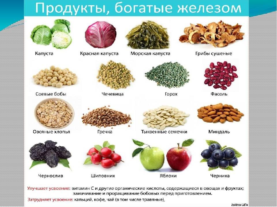 Железо в крови: продукты, повышающие и понижающие его уровень, а также питание для беременных, детей и диета для женщин и мужчин