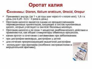 Калия оротат в таблетках - для чего и как принимать, побочные действия, противопоказания, аналоги и цена
