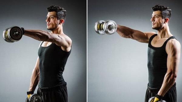 Упражнения по подъему гантелей перед собой из положений стоя и сидя