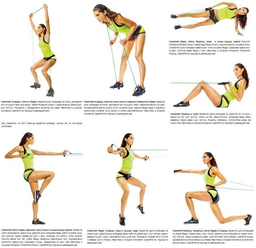15 упражнений с эластичной лентой для женщин и мужчин на похудение и укрепления мышц