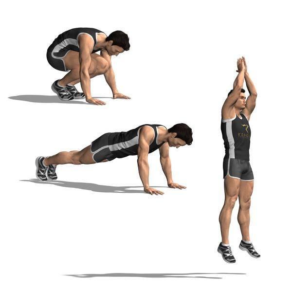 Приседания с выпрыгиванием вверх для тренировки мышц бедер и ягодиц