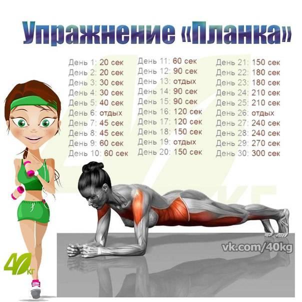 Упражнение планка, как правильно делать и сколько подходов     похудейка24.ру