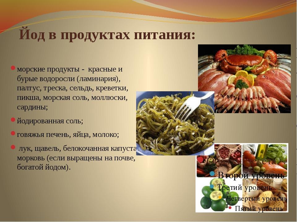 Йод, роль, функции, в каких продуктах содержится, препараты
