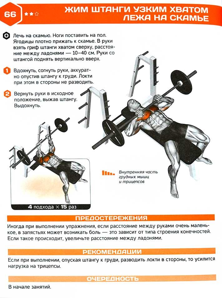 Жим лежа узким хватом: какие мышцы работают и чем заменить - техника выполнения на трицепс