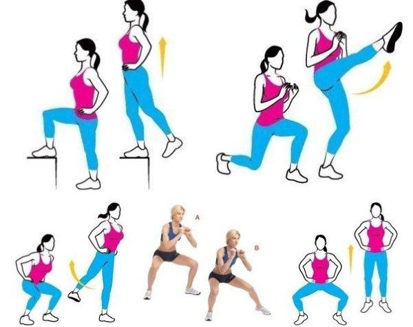 Эффективные упражнения для похудения ягодиц и бедер в домашних условиях   похудение тут