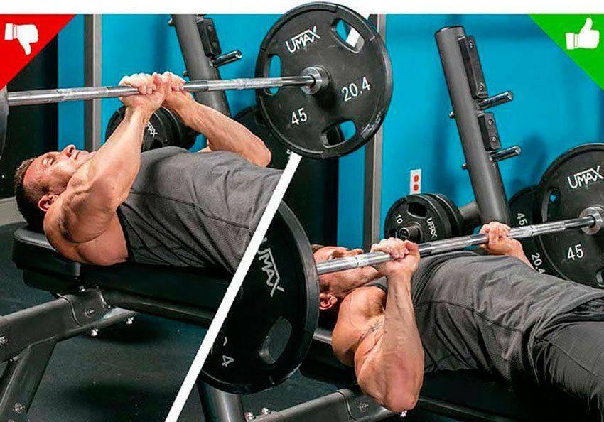 Жим лежа узким хватом: какие мышцы работают, техника со штангой и в Смите