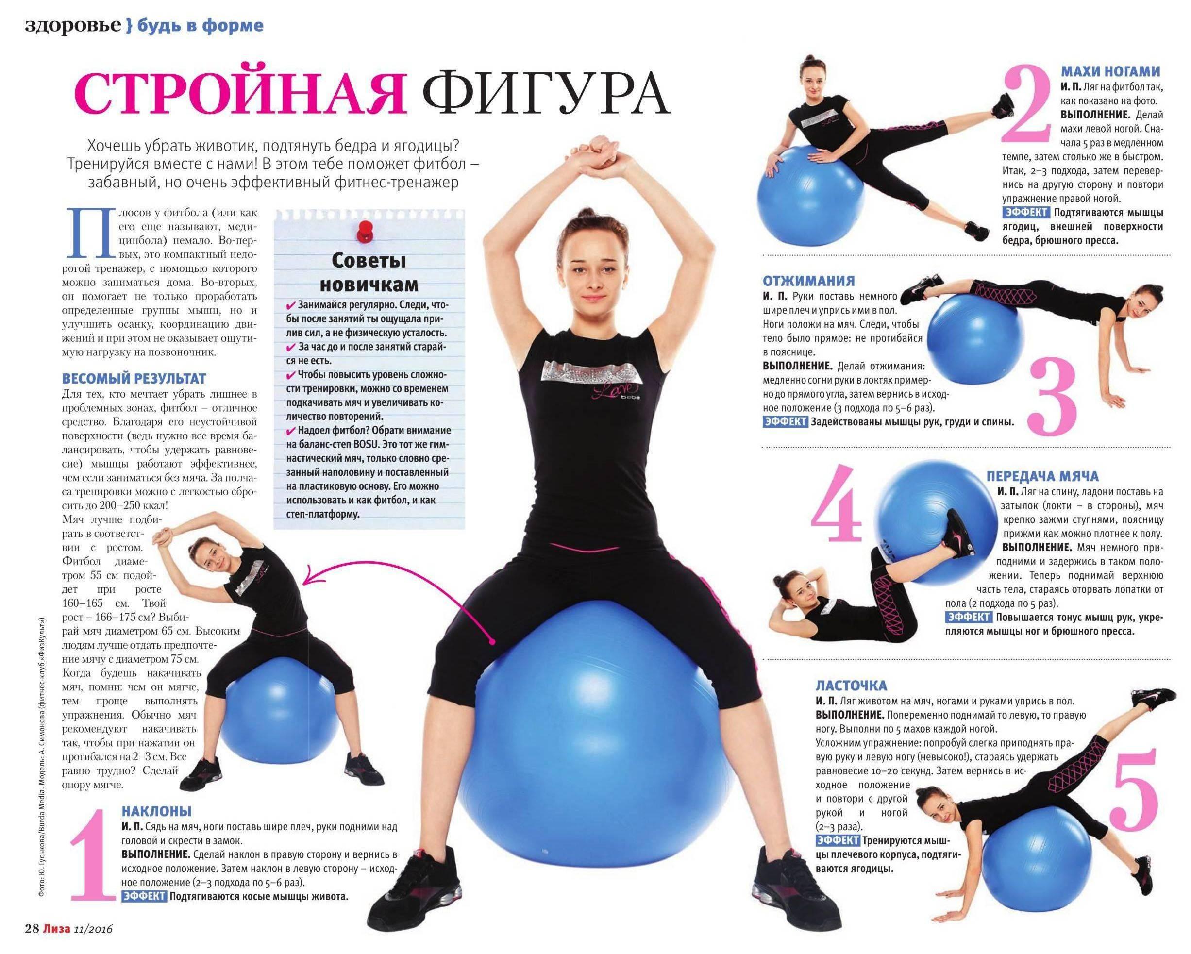 Упражнения с фитболом в домашних условиях для ягодиц