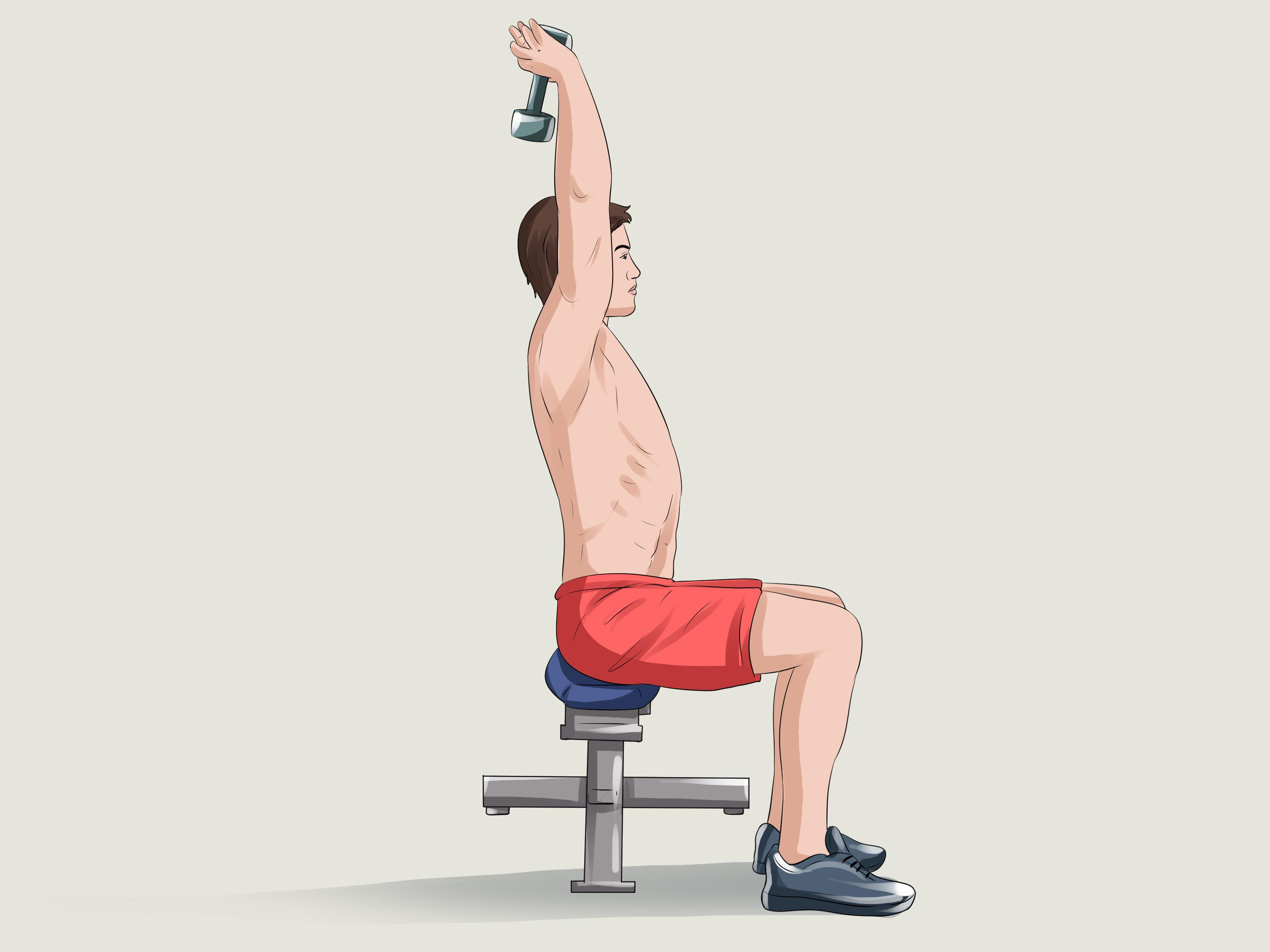 Разгибание рук с гантелью из-за головы стоя или сидя