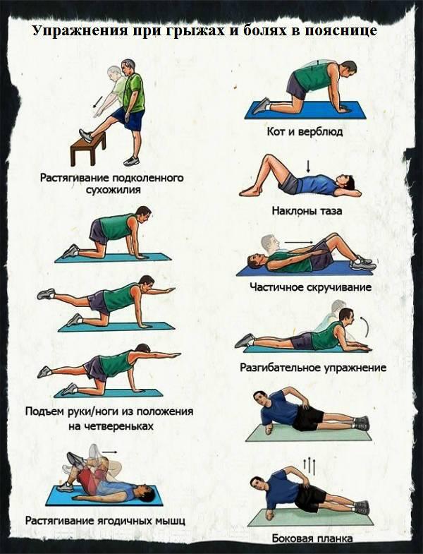 Упражнения при болях в пояснице: видео, лучшие техники