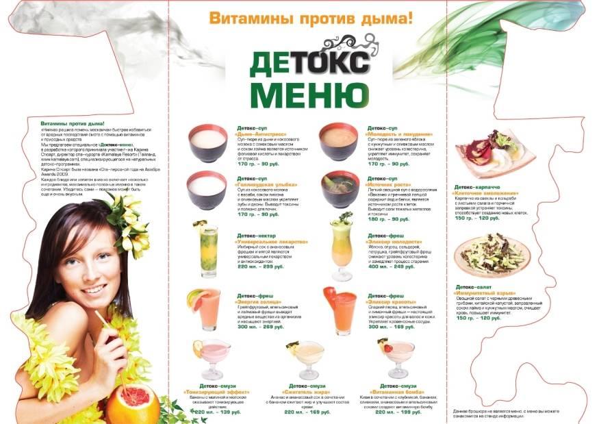 Детокс диета для очищения организма: меню на 3, 7 и 10 дней