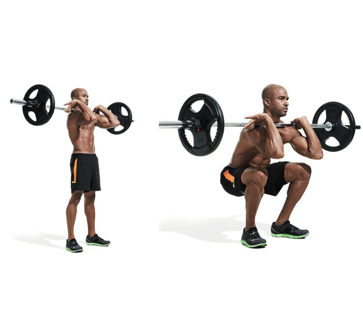 Фронтальный присед или приседания со штангой на груди: какие мышцы задействуются, как держать спину и ставить ноги, особенности правильного хвата, распространенные ошибки новичков