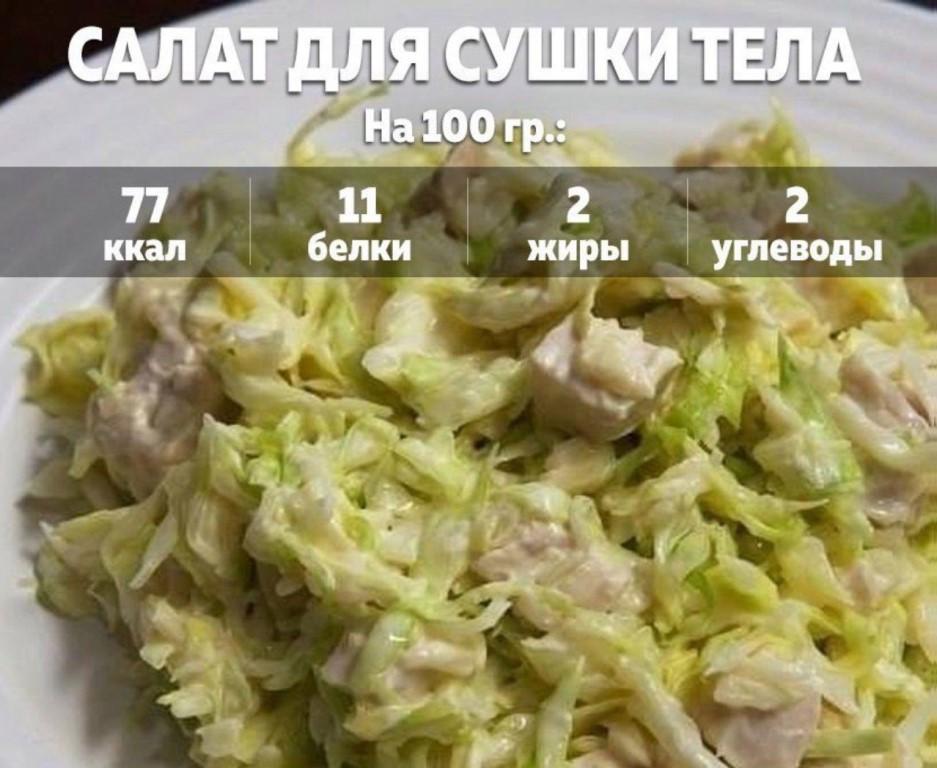 Рецепты салатов и других блюд при сушке с минимальным калоражем