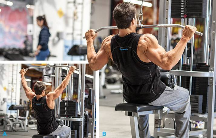Упражнения на тягу вертикального блока за голову, а также советы по их правильному выполнению
