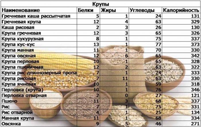 Калорийность и пищевая ценность гречки на 100 грамм