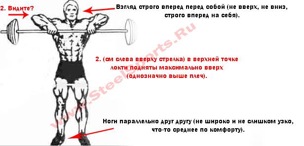 Тяга к подбородку: какие мышцы работают и вариации выполнения широким и узким хватом